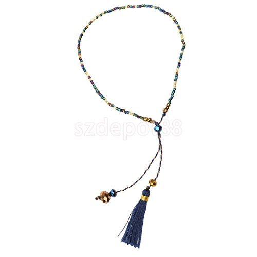 Fringed Wrist Bracelet Colorful Millet Beads Chain Elegant Bangle Bracelet Dark Blue