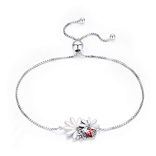 (H-Rose 925 Sterling Silver Lucky Red Ladybug's Daisy Flower Bracelet Sunflower Charms Bracelets Bangles for Women Gift Jewelry)