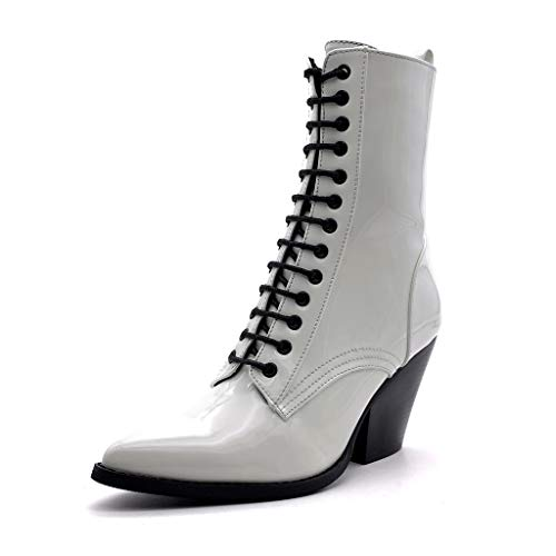 Cm Barnizado Glam Moda Botines Tacón Elegante Rock Ancho Mujer Blanco Alto 9 Zapatillas Punk Angkorly Sq84OW