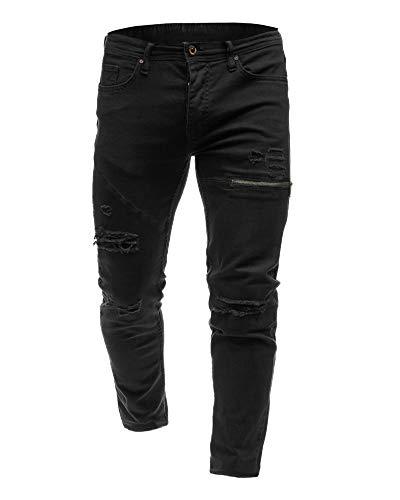 Strappati Slim Uomo Streetwear Fit Pantaloni Jeans Distrutti Da Nero Skinny Vintage qYOxR