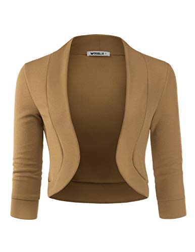 (TWINTH Womens Cropped Open Front Bolero Shrug 3/4 Sleeve Knit Cardigan Mocha 2X Plus)