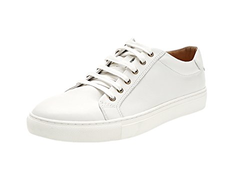 Genda 2Archer Men's Real Leather Casual Sneakers Lace Up Solid White Shoes 8 D(M) US
