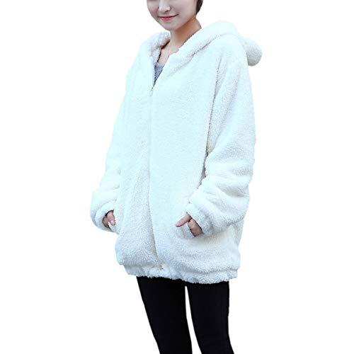 Winter Hooded Front Rabbit Sweater Sleeve Coat White Warm Long Korean Zipper qwIEO