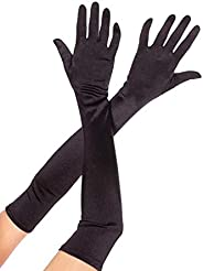 Woman Gloves Long Solid Bride Wedding Evening Party Satin Elegant