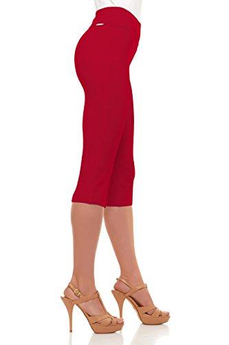 Red capri leggings for women