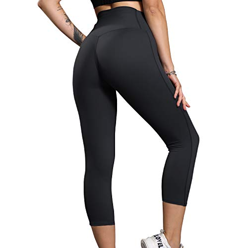 Lorpect High Waisted Leggings for Women – Stretch Yoga Pants with Hidden Pocket(Black,L