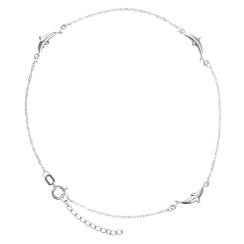 (Anklet 14k White Gold Twist Chain with Polished Dolphins Adjustable Length)