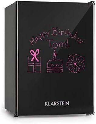 Klarstein Spitzbergen - Kühlschrank, 70 Liter Fassungsvermögen, Energieeffizienzklasse A+, 2 flexible Glasböden, Gefrierfach: 8 Liter, ZestfulART Design: beschreibbare Tür inkl. Marker, Schwarz