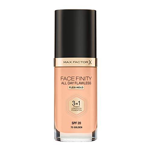 Max Factor Facefinity 3 In Primer Concealer Foundation Spf 20 75# 30 Ml1, Golden, unscented, 1 Fl Oz