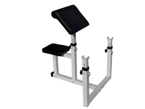 Adjustable Preacher Curl Weight Bench Seated Isolated Curl Height Dumbbell Bicep (Black/White) by unbrand