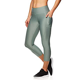 Reebok Women's Printed Capri Leggings With Mid-Rise Waist Performance Compression Tights