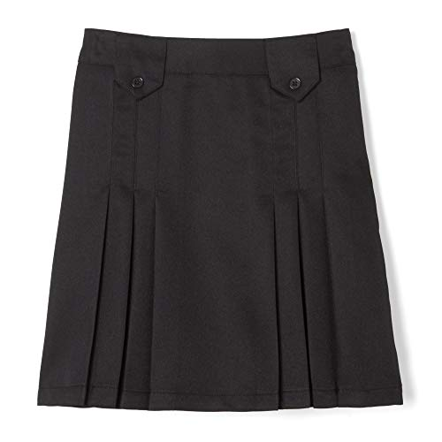 - French Toast  Girls' Front Pleated Skirt With Tabs, Black, 6,Little Girls