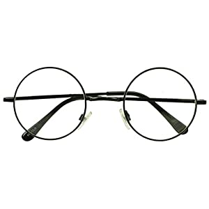Sunglass Stop - Small Round Vintage Metal John Lennon Clear Lens Eye Glasses (Black , Clear Lens )