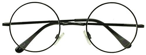 Sunglass Stop - Small Round Vintage Metal John Lennon Clear Lens Eye Glasses (Black , Clear Lens - Prescribed Glasses