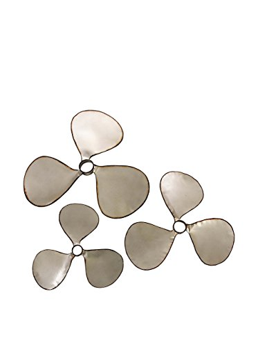 IMAX 47253-3 Pelham Propeller Wall Decor [Set of 3] - Iron, Silver Metal Finish - Assorted Sizes, Keyhole Hanger - Nautical Wall Art. Vintage Decor Accent