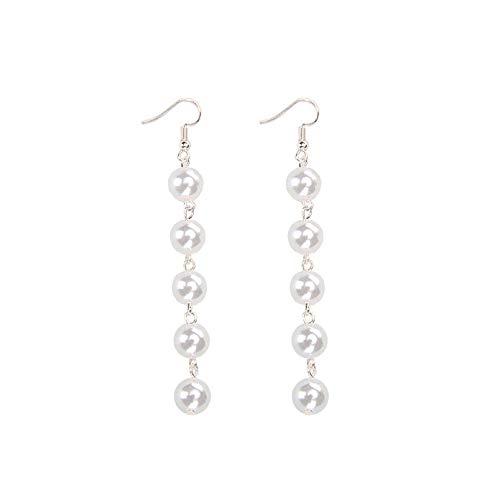 (Crystal Sterling Silver Teardrop Dangle Pearl Earrings Bridal Ear Studs Betrothal Jewels Pearl Gift (Shell Pearl Hooks))