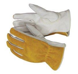 Radnor Glove Drivers Large Premium Grade Grain Cowhide Palm Split Cowhide Back Unlined Keystone Thumb Shirred Elastic Back Carded -1 Dozen Pairs