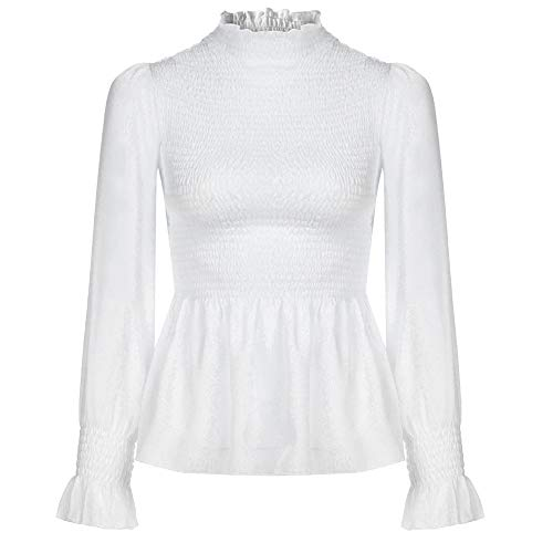 Flare Turtleneck (Littleice Women Long Pleated Pullover Tops Long Sleeve Turtle Neck Ruched T-Shirt Flare Sleeve Blouse Tops (White, XL))