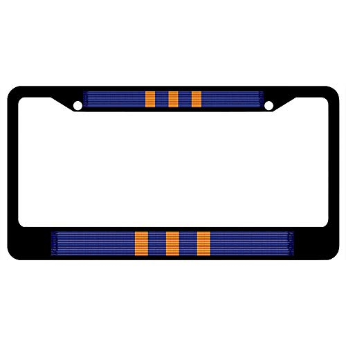 Awards Navy Ribbon - Navy Meritorious Civilian Service Award Medal Ribbon Customizable License Plate Frame Stainless Steel, Black Auto Car Truck Plate Frame, Military Car Tag Cover, 2 Holes and Screws