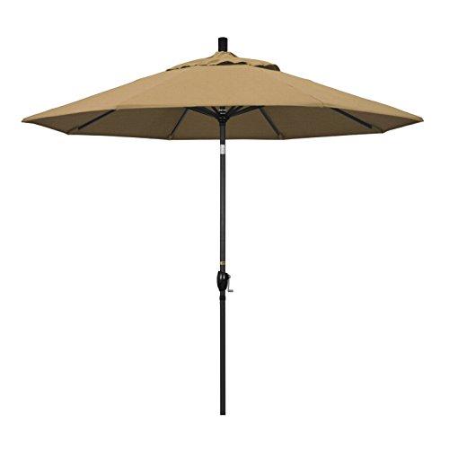 California Umbrella GSPT908302-F72 9-Feet Olefin Fabric Aluminum Push Button Tilt Market Umbrella with Black Pole, Straw