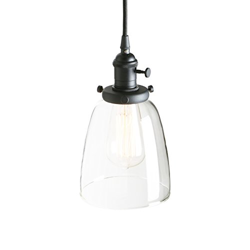 - Pathson Industrial Glass Pendant Lighting, Black Vintage Style Hanging Light Fixture for Living Room Dining Room