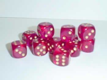 Chessex Dice d6 Sets: Borealis Magenta with Gold - 16mm Six