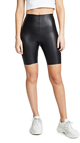 - commando Women's Faux Leather Bike Shorts, Black, Large
