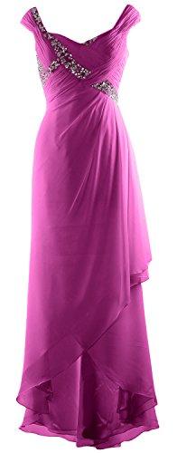 of Maxi Gown High MACloth Chiffon Formal V Bride Low Dress Mother Elegant Fuchsia Neck xwwHW7tYqz