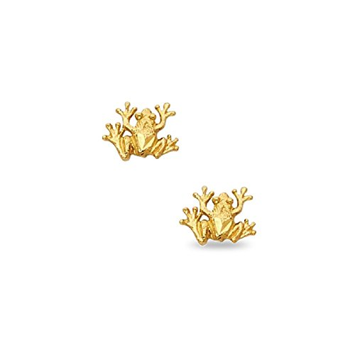 (14k Yellow Gold Frog Stud Earrings Diamond Cut Design Polished Finish Genuine Solid 9 x 8 mm)