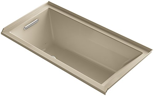 Bubblemassage Bathtub - KOHLER K-1167-LFG-33 Underscore 60-Inch x 30-Inch Alcove BubbleMassage Air Bath with Tile Flange and Left-Hand Drain, Mexican Sand