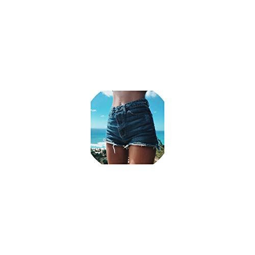 (Women Summer High Waisted Denim Shorts Jeans Women Short Femme Push Up Skinny Slim Denim Shorts,Dark Blue,XXL)