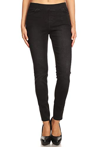 Women's Plus Size High Waisted Stretchy Pull-On Skinny Denim Jeans (3X-Plus, Black Denim)