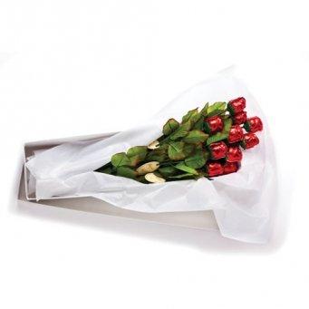 Madelaine Chocolate Company Edible Chocolate Roses - 19 Inch Long Stem Semi-Solid Premium Milk Chocolate Roses  - 1 Dozen