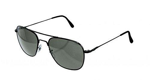 AO Original Pilot Sunglasses Wire Spatula Black Frame CC Gray Poly Lens 52mm