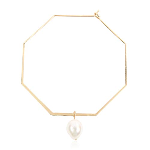 RIAH FASHION Simple Geometric Polygon Lightweight Hoop Earrings - Classic Thin Wire Delicate Threader Dangles Octagon, Pentagon, Crescent Curved Arc, Pearl (Octagon Freshwater Pearl Hoops - - Circle Drop Pearl Freshwater