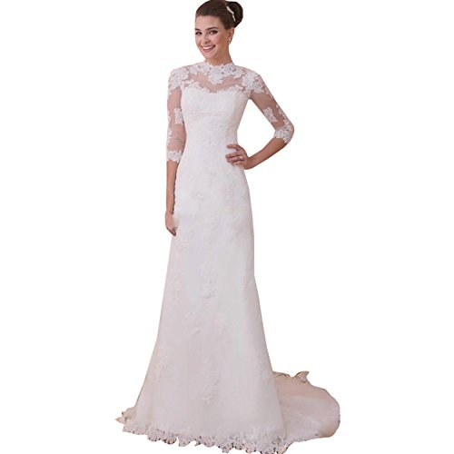 Fenghuavip Elegant 3/4 Sleeves White Long Tailing Brides Wedding Dresses (18)