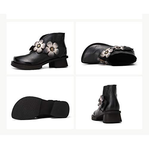 Flor Confort Zapatos Madre Invierno Vintage Cuero De Velcro Otoño Negro Botas Botines Mujer Mocasines Yan wOA04w