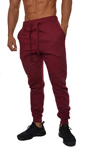 Young Apparel Mens (YoungLA Mens Slim Fit Joggers Fitness Activewear Sports Fleece Sweatpants For Gym Training Burgundy Medium)