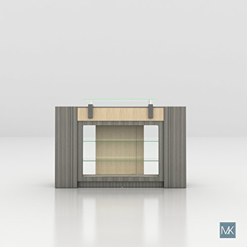 ALERA Reception Table with Glass Display Shelves and Side Cabinets, Ideal for Salon, Office, Counter, Modern Waiting Room Reception Furniture & Equipment by MAYAKOBA (Image #1)