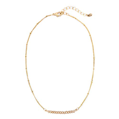 (The Belcher's Multicolor Crystal Opal Beads Choker Necklace Gold Tone Chain Dainty for Women Girls Boho Bohemain Minimalist Jewelry-Champagne)