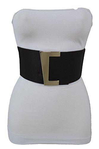 TFJ Women Fashion Wide Fancy Belt Hip Waist Gold Metal Buckle Dressy Faux Leather S M Dark Brown