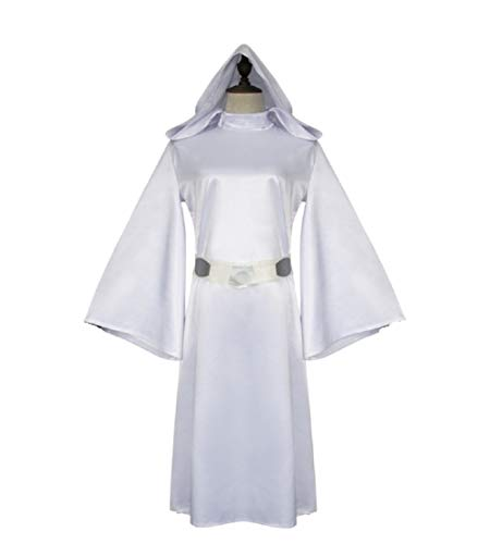 SW Classic Deluxe Princess Costume Womens Halloween Cosplay White Hooded -