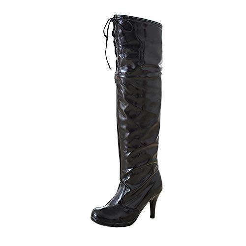 Sonnena Lederstiefel Sexy Damen High Heel Wasserdichte Plateau Boots Schuhe mit Absatz Bequem Overknee Langschaftstiefel Mittelrohrstiefel Damenstiefel Stiefel 8cm 35-43 Schwarz
