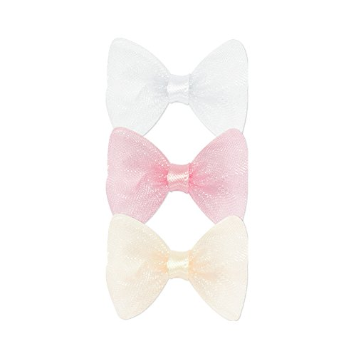 Velcro Bow Tie - Wee Ones Baby Girls' Three Tiny Organza Hair Bowties on Velcro - White, Light Pink, and Ecru