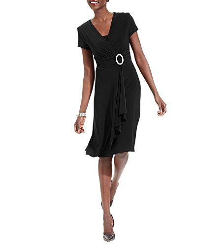 R & M Richards Women's Cascading Ruffle Detail Dress Black 8