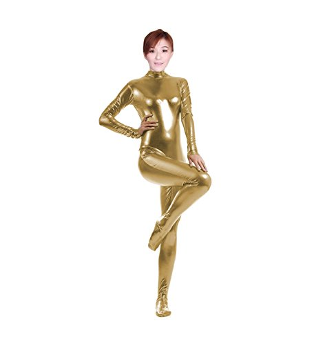 [WOLF UNITARD Shiny Metallic Unitard Catsuit Dancewear Large Gold] (Red Jumpsuit Costume)