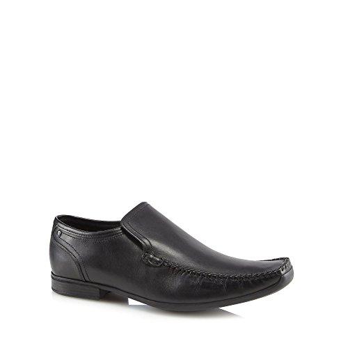 Base London Men Black Leather 'Acrobat' Slip-On Shoes
