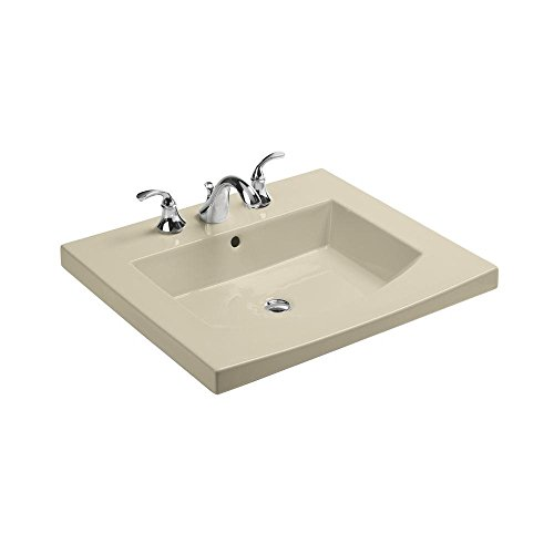 KOHLER K-2956-8-47 Persuade Curve Top and Basin Bathroom Sink with 8-Inch Centers, Almond
