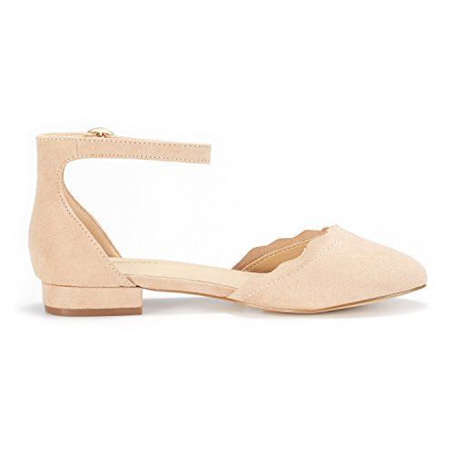 DREAM PAIRS Women's Sole_Vogue Nude Fashion Low Stacked Ankle Straps Flats Shoes Size 8 M US by DREAM PAIRS (Image #1)
