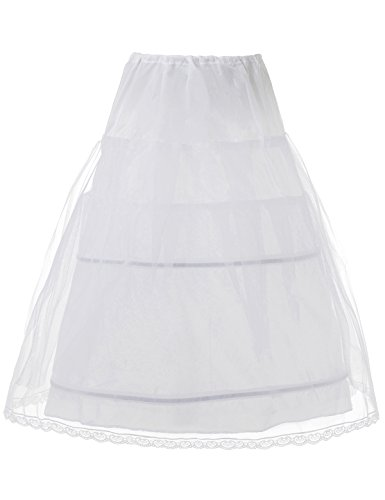 (Remedios Kids Crinoline Petticoat Flower Girl Wedding Underskirt Slip, one size White)